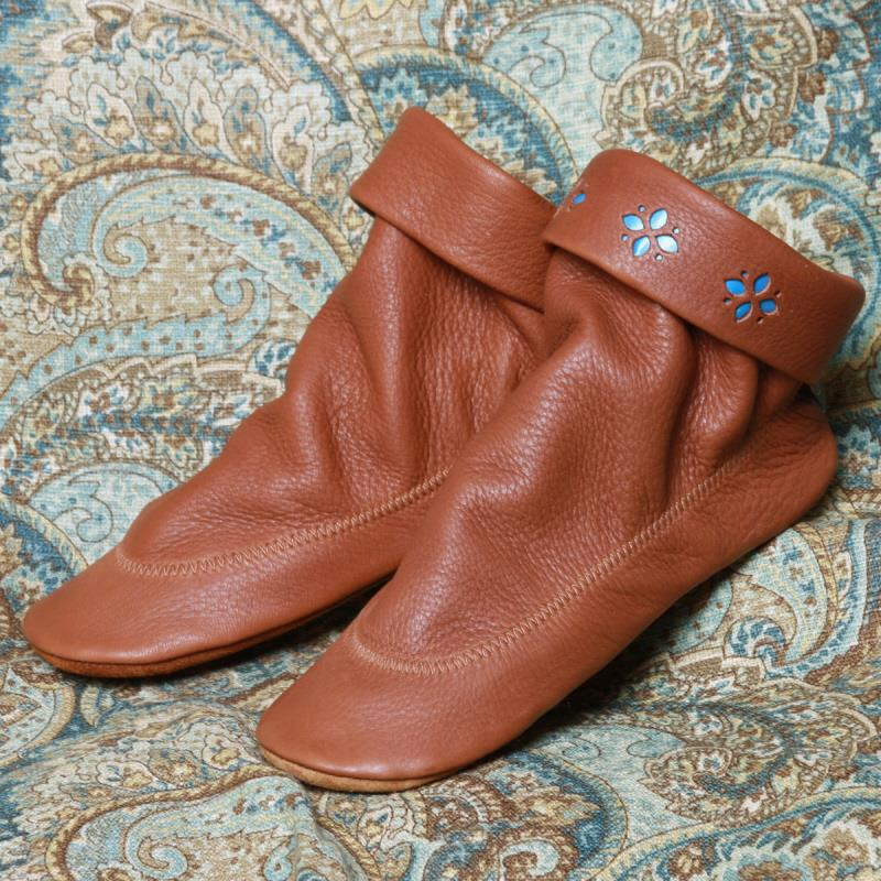 Saddle Deerskin (Plain Collar & Flower Petal - left to right)