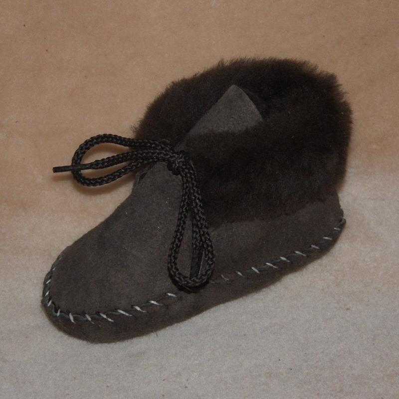 Brown Toddler Sheepskin Booties