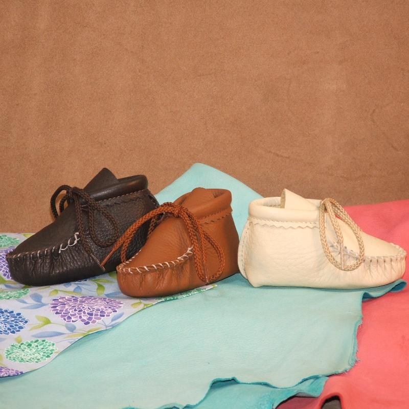 Infant Booties - Brown, Saddle & Creme (left to right)