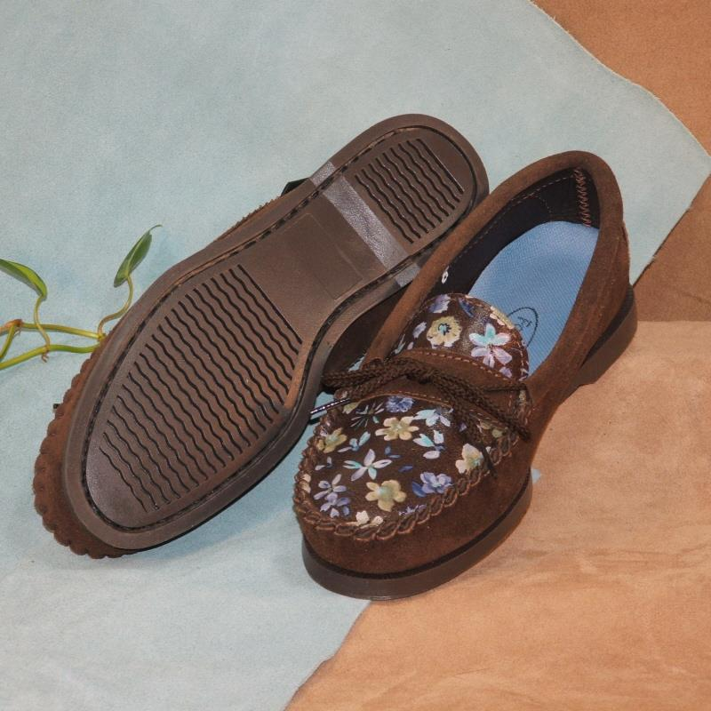 Brown Flowered Leather