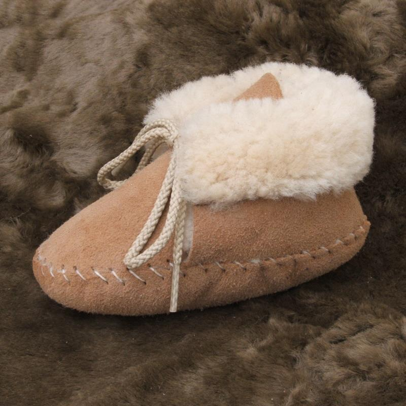 Tan Toddler Sheepskin Booties